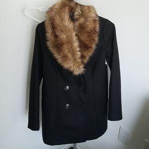 NWT Sears classic peacoat w faux fur collar